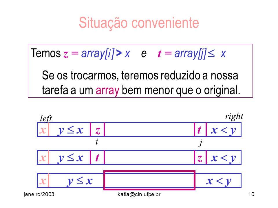 Situação conveniente Temos z = array[i] > x e t = array[j]  x